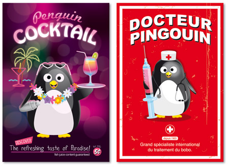 illustration de cartes postales pingouin