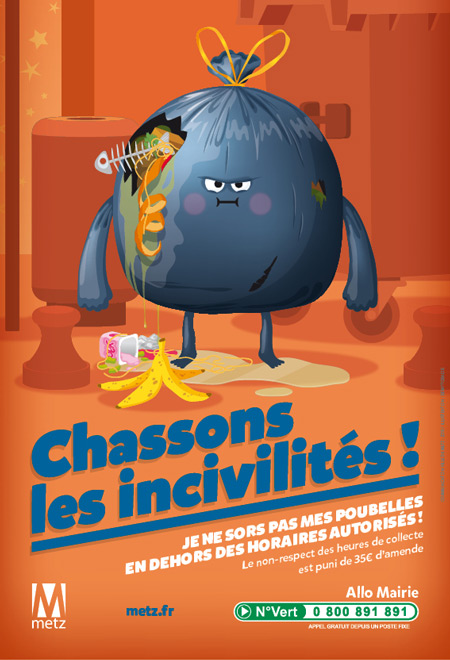 illustration de affiche monstre poubelle