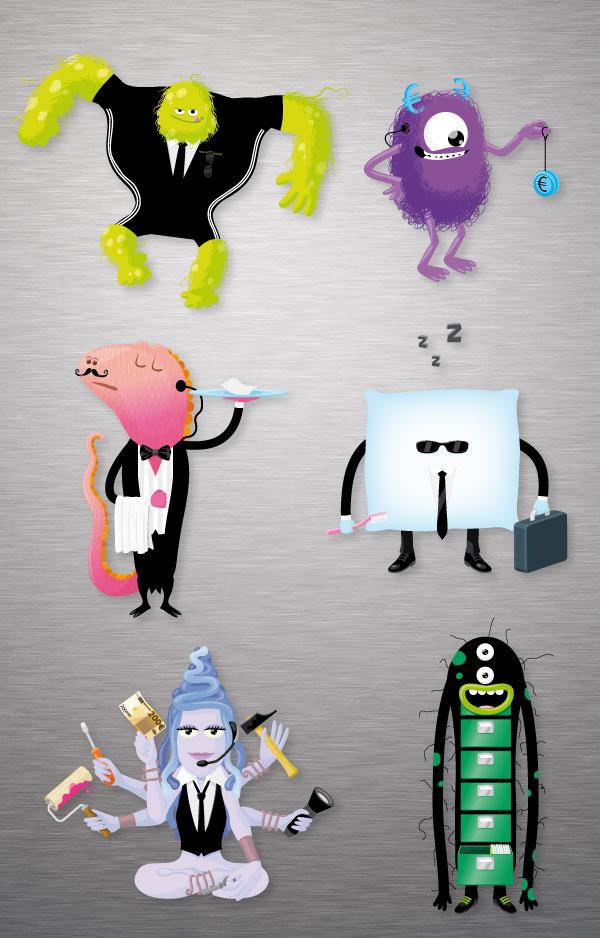 illustrations de monstres et d'extraterrestres