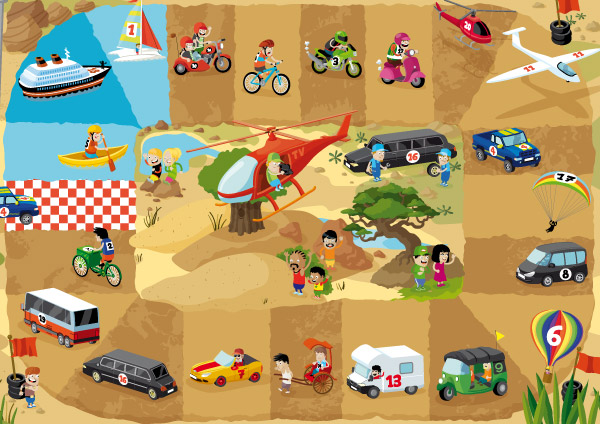 illustration jeunesse de jeux de plateau