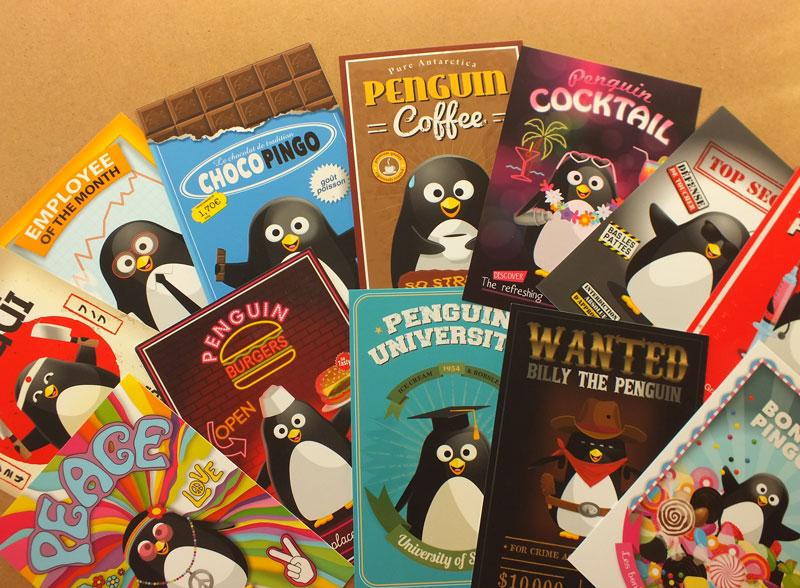 cartes postales originales sur le thème des pingouins