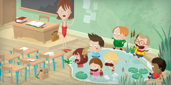 illustration jeunesse de salle de classe