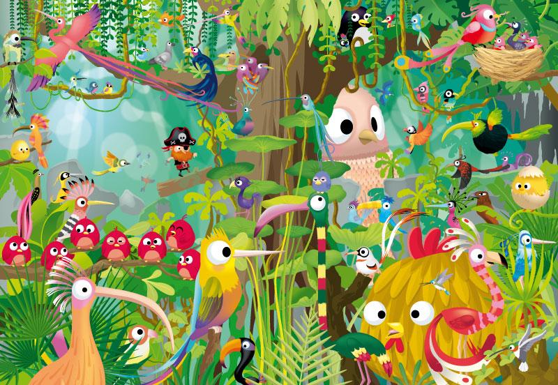 illustration jeunesse de pirate et d'oiseaux