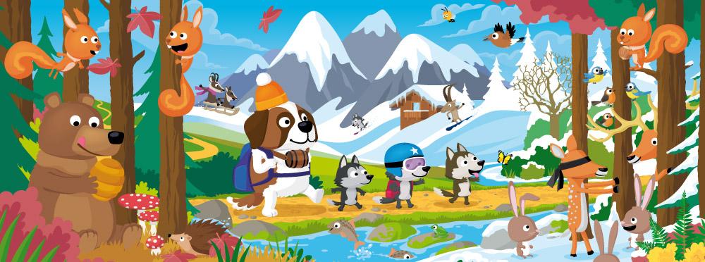 illustration décorative de fresque murale pour enfants