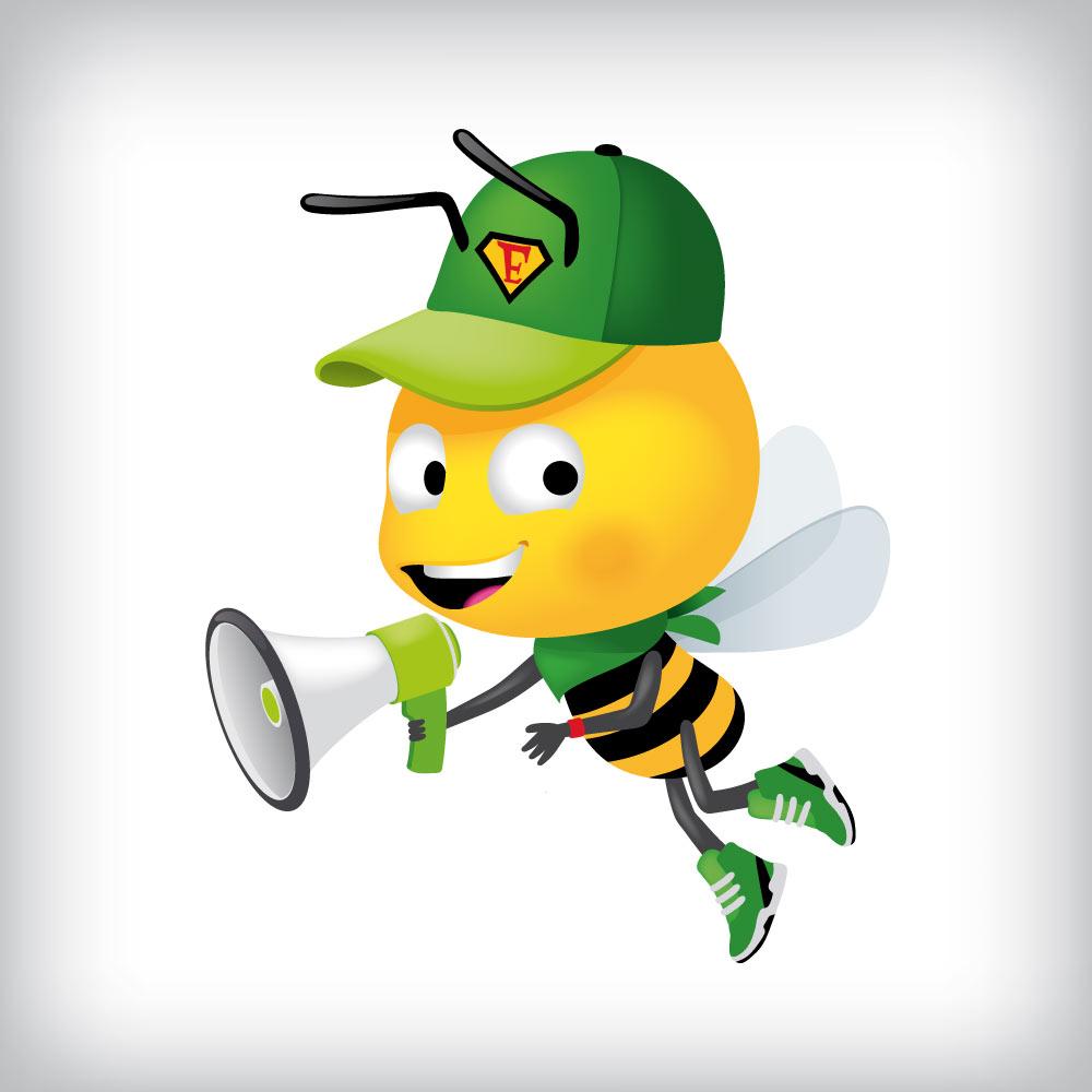 mascotte abeille avec un mégaphone