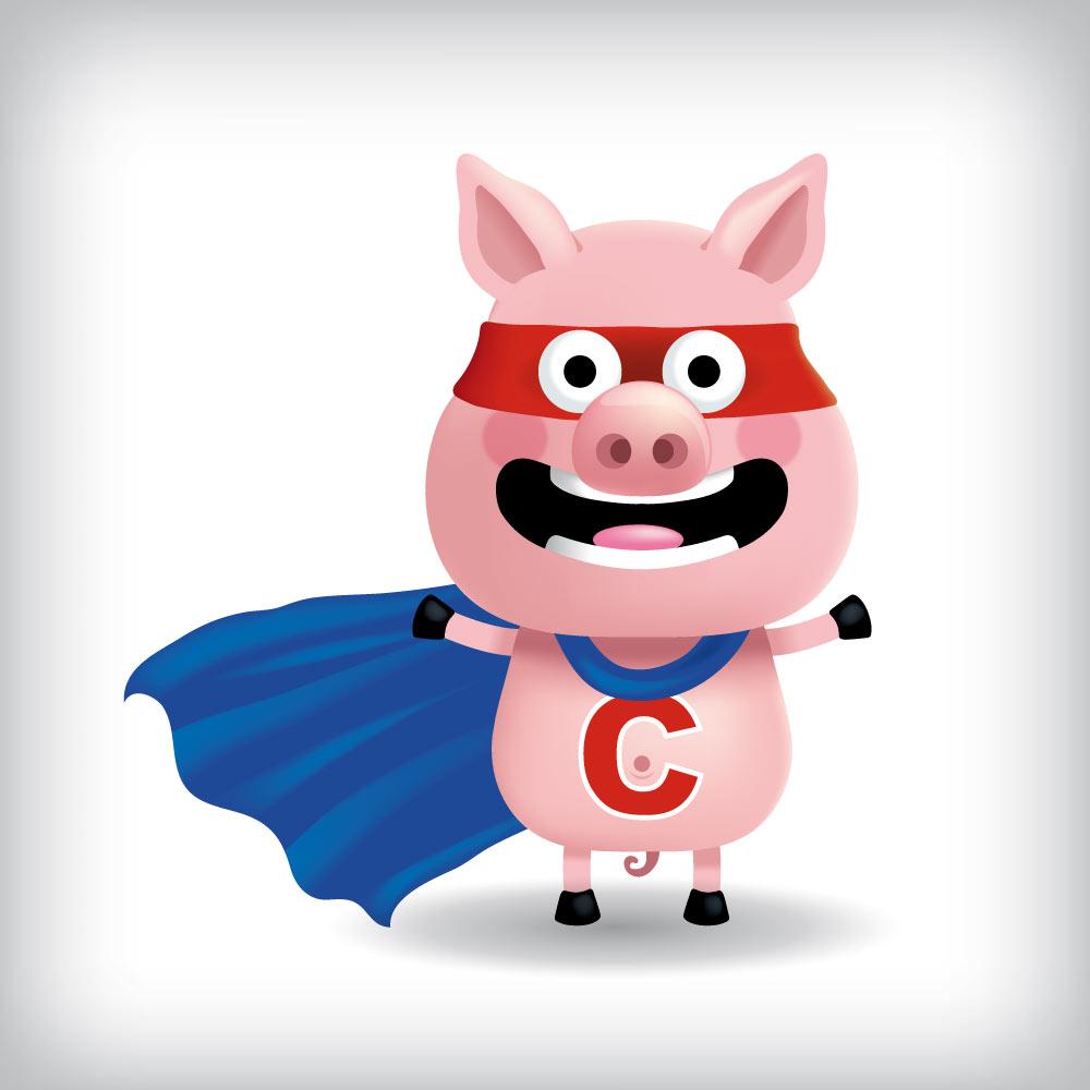 mascotte de chchon super-heros