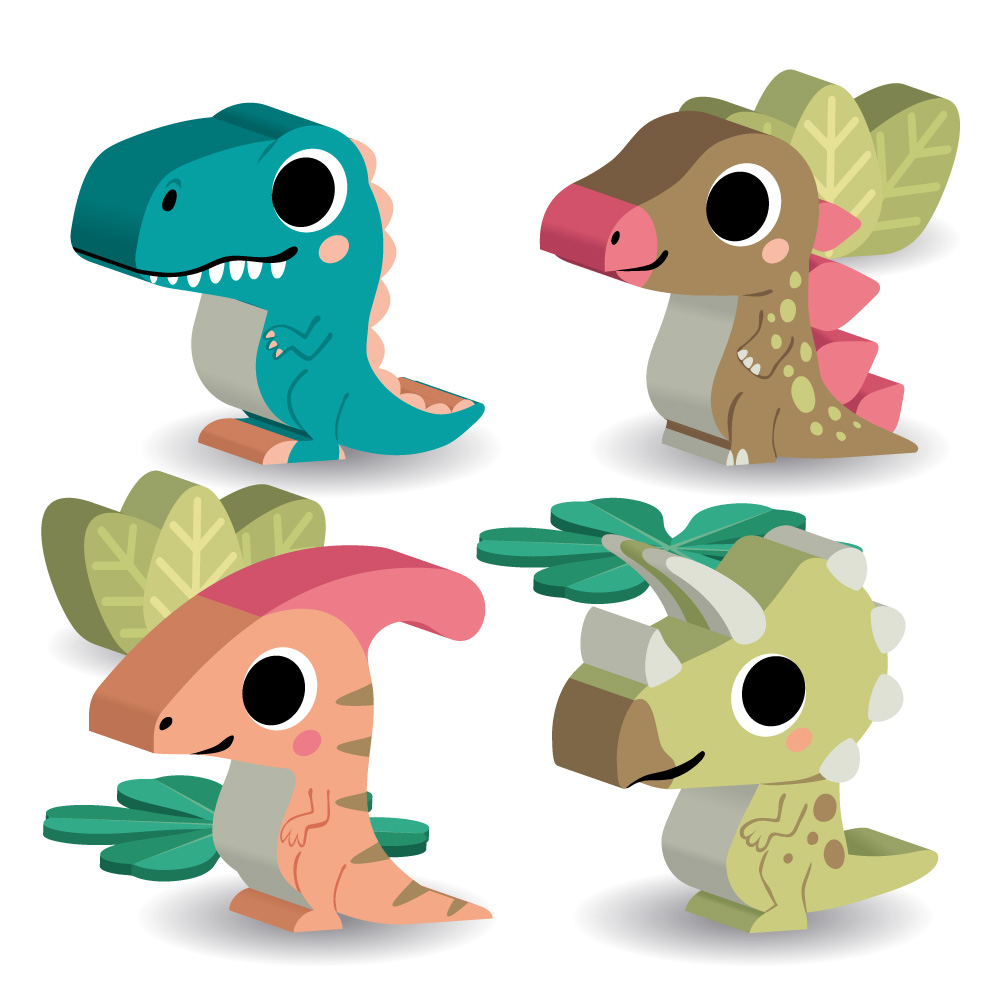 illustration de meeple dinosaures