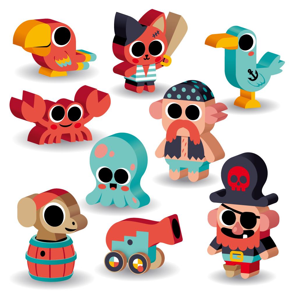 illustration de meeple sur le thème des pirates