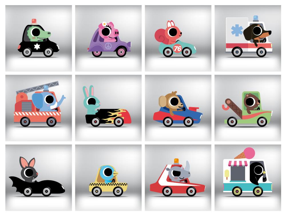illustration pour enfant d'animaux conduisant des voitures
