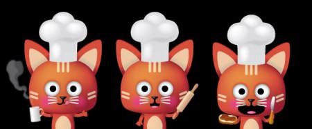 illustration de mascotte de chat cuisinier