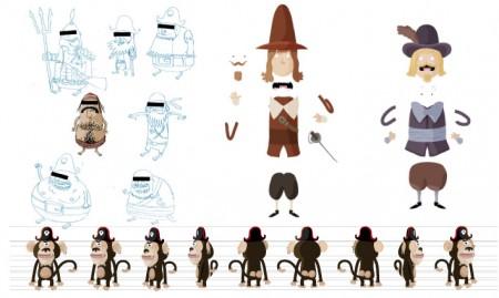 character design de singe pirate