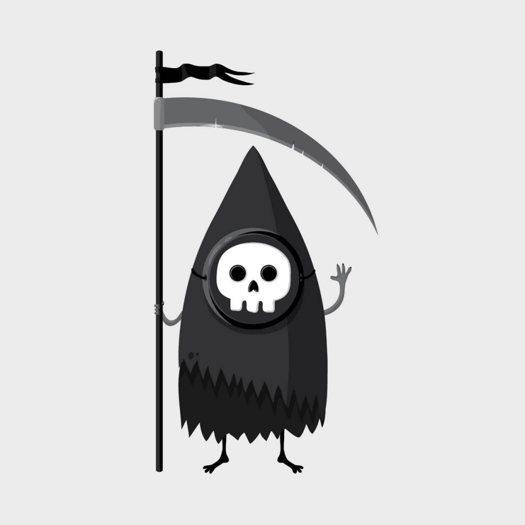 illustration cartoon de la mort, la faucheuse
