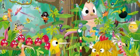 illustration de la jungle composée de plein d'oiseaux colorés