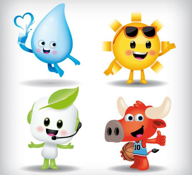illustration de 4 mascottes représentant une goutte d'eau, le soleil, un standardiste et un taureau basketteur