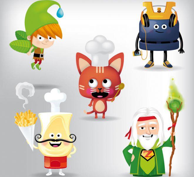illustration de 5 mascottes cartoon