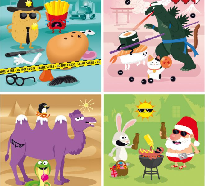 illustrations cartoon de jeux