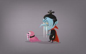 illustration de portfolio d'illustrateur avec un vampire cartoon