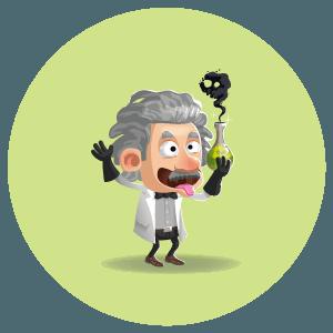 illustration cartoon d'un savant fou sosie de Albert Einstein