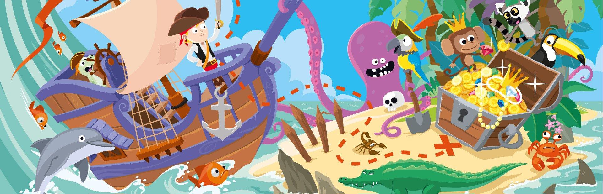illustration pour enfants sur le thème de l'île au trésor extraite d'un livre jeunesse numérique édité par Magify