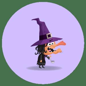 illustration jeunesse de sorcière réalisée sur le logiciel adobe illustrator